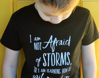 I am Not Afraid, Positive Message Tee, kid screen print tshirt, toddler screen print tshirt