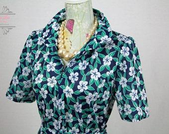 Vintage Blue Green Floral Zip Front Shirt Dress Size M/L