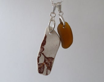 Brown and Cream Beach Pottery Necklace
