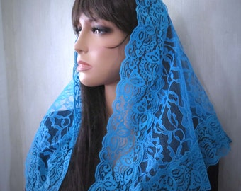 Sunday Turquoise Blue Lace Mantilla Style Chapel Veil with Rosary Pouch
