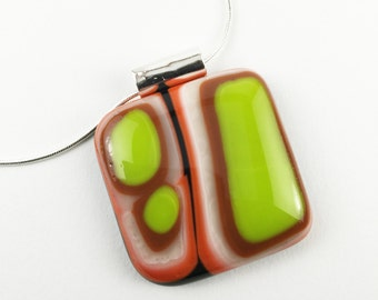Green/Brown/Orange Fused Glass Necklace