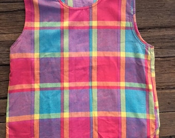 Cute gingham check tank top
