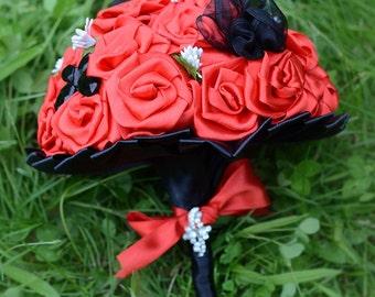Red Brooch Bouquet Ruby Black Bridal Rhinestone Satin Wedding