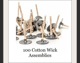 100 Tea light Wicks - Cotton Tealight Candle Wicks - Wick Assembly for Soy Tea Lights - Candle Making Supply - Do it Yourself