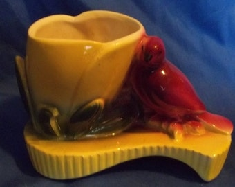 Sweet Vintage Pottery Planter with Flower & Bird - unmarked