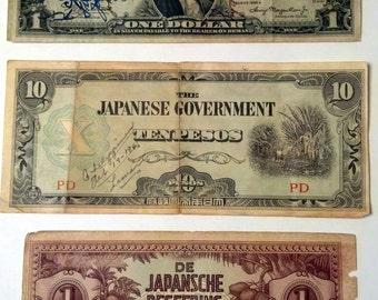 WWII Paper Money Bills - Short Snorter & Japanese Bills