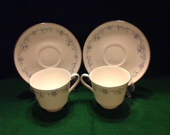 "Two (2) Royal Doulton ""Angelique"" Cup And Saucer Sets"