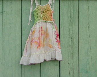 Cotton and crochet painted girl dress baby for 1 year