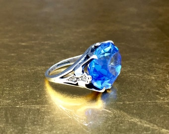 Silver Antique Ring | Blue Antique Ring | Victorian Pinky Ring | Silver Antique Ring | Blue Solitaire Ring | Size 1 Ring