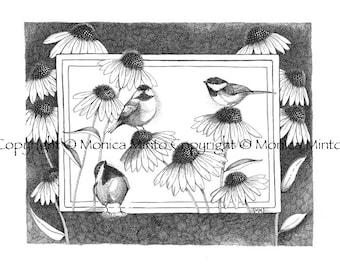 Chickadees and Coneflowers
