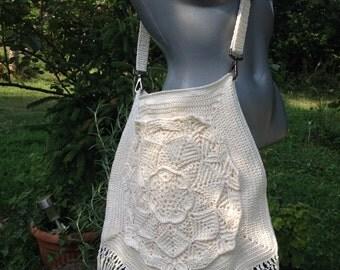Crochet bag, crochet fringe handbag, cross over bag, crochet boho bag, mandala cross body bag, fringed bags, boho messenger bag Hippie Bag