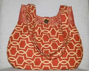 Medium Abstract Upholstery Fabric Handbag