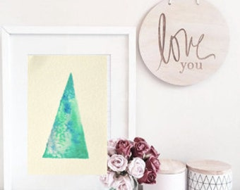 Geometric watercolour painting, Abstract watercolour painting, watercolor triangle, ORIGINAL watercolour painting, simple art, shape art