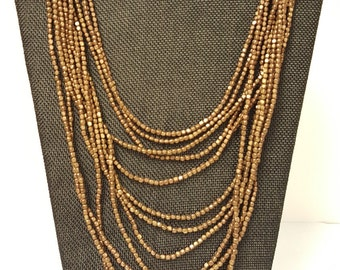 Awesome Vintage Handmade Multi Strand Copper Bead Necklace