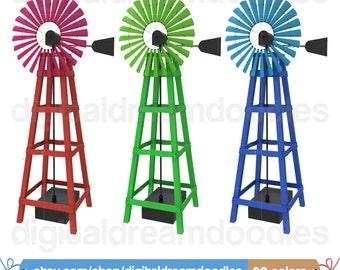 Windmill Clipart, Windmill Clip Art, Outdoor Wind Mill Clipart, Outdoor Windmill Image, Windmill Graphic, Windmill Picture, Digital Download