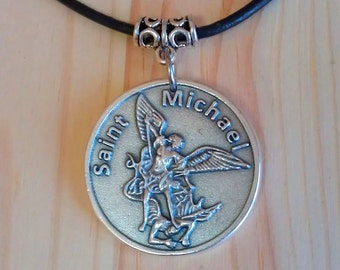 Saint Michael pendant, Saint Michael Necklace, Prayer to Saint Michael, Religious coin pendant charm, Saint Michael coin Keychain.
