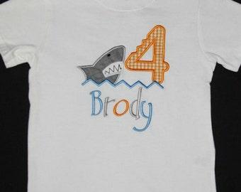 Custom appliqued shark birthday shirt