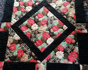 Quilt, handstitched quilt, oriental design, black & red, large lap quilt, twin bed quilt, bridal shower gift, wedding gift.