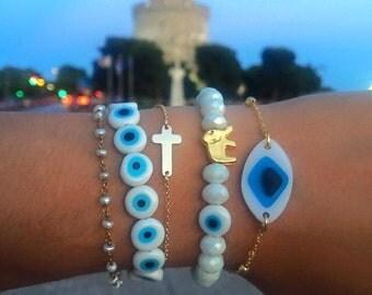 Evil Eye Jewelry, Evil Eye Bracelet, Evil Eye Charm, Pearl Bracelet, White Rosario Bracelet, Cross Bracelet, Gift for Her.