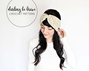 MYRA | crochet ear warmer pattern and tutorial, women's headband pattern, picture tutorial, thick chunky yarn, pdf file, instant download