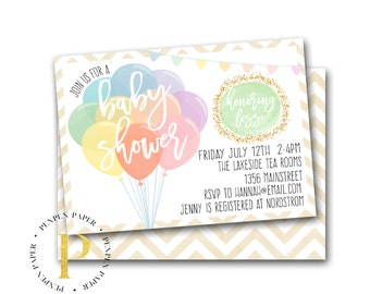 Baby Shower Invitation - Printable Invite - Bunting Balloons - Gender Neutral - Gold Glitter - Customized LISSI COLLECTION