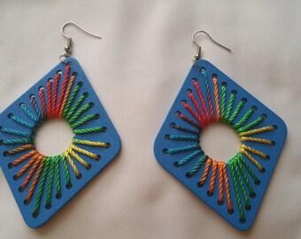 Blue vibrant earrings