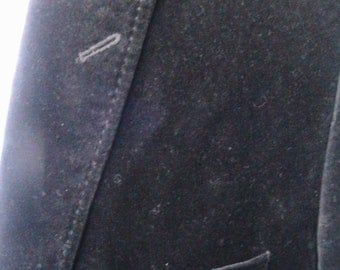 Size 42 VINTAGE ALFANI Midnight Blue/black  Velvet One Button Sport Coat