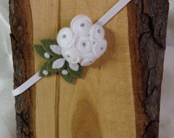 White Flower Bouquet Headband