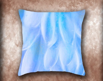 Blue Petals Throw Pillow