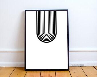 Minimalist geometric print, black and white print, Instant download print,nordic print mid-century art print,line art,graphic art