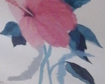 Signed original watercolor hibiscus