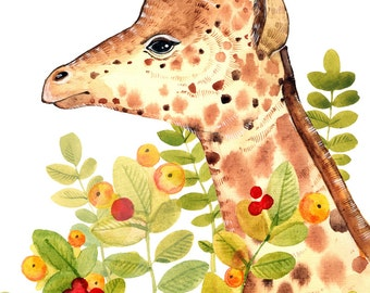 Giraffe Print Art Animal Nursery Print Giraffe Watercolor Summer Print African Animal Decor Giraffe Print