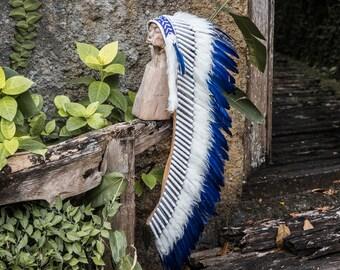 Blue indian headdress / Indian headdresses / War bonnet / Native american indian costume