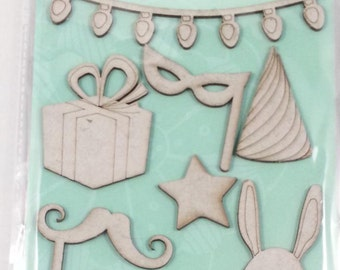 10 chipboard 3D stickers for scrapbooking and card making or decorating, Rahmenn (party)