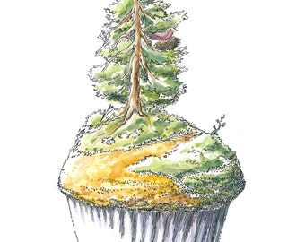 Watercolor, pen and ink illustration of a tree muffin