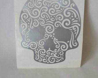Skull Swirls Decal, Skull Sticker, Halloween Skull Decor, Skulls