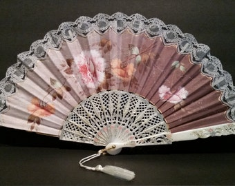 Pretty Spanish Fabric And Lace Fan