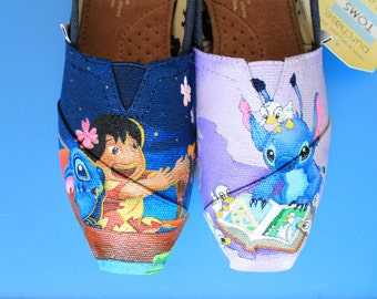 Lilo & Stitch Hand-Painted TOMS Canvas Shoes