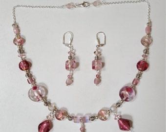 Petal Pink Necklace & Earring Set