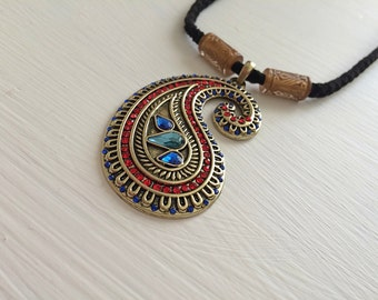 Jeweled Boteh Necklace - Paisley Necklace - Boteh Necklace