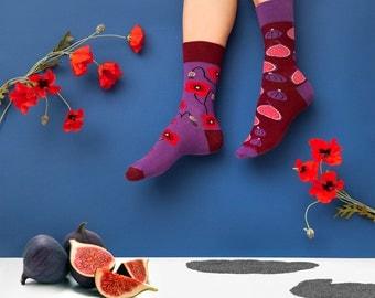 Crazy Fig & Poppy Seed mismatched socks   men socks   colorful socks   cool socks   womens socks   crazy socks   patterned casual socks