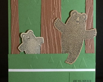 Handmade Greeting Cards-Bears Bare Naked in the Forest-(Set of 5 Cards) Notecards
