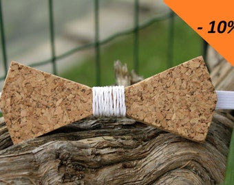 Cork with Central white raffia bow ties