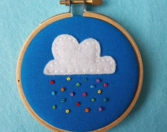 Cloud and Rainbow Rain Embroidery Hoop Art. Miniture, 3 inch Hand Embroidered Hoop to Hang on a Wall. Cute Art. Weather Art. Kids Decor