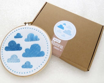 Modern Sampler Embroidery Kit, Clouds Embroidery Kit, Contemporary Needlework Kit, DIY Nursery Decor, DIY Gift For Her, Hoop Art Set