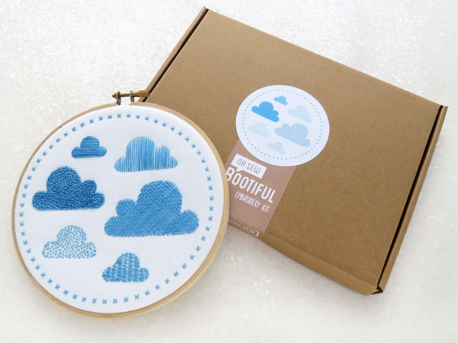 Modern sampler embroidery kit clouds
