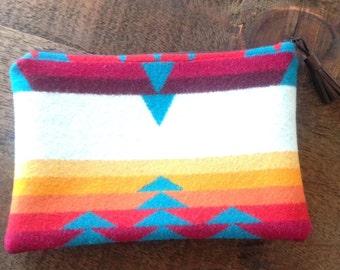 "Geometric Wool Clutch made with genuine Pendleton® fabric""."