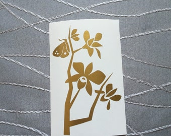 Butterfly Resting on a Branch - Chinese - Art- Vinyl Decal