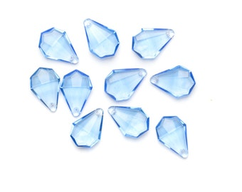 Blue Acrylic Tear Drop Beads - Faceted Acrylic Beads - Jewellery Making Supplies - Beading Supplies UK