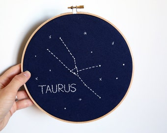 TAURUS Glow-in-the-dark Zodiac Constellation Embroidery Hoop Art - Astrology Wall Hanging - Taurus wall decor - Birthday- Nursery decor - 8""